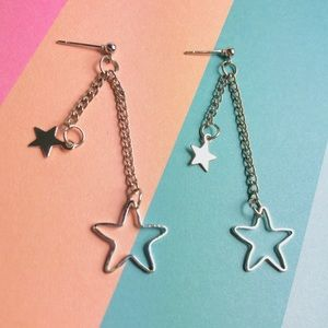 New! Star Multi Linear Drop Dangle Earrings Silver